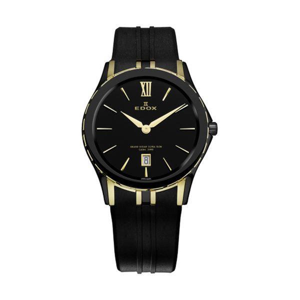 Women's Black Dial Black Rubber - EDOX Watch