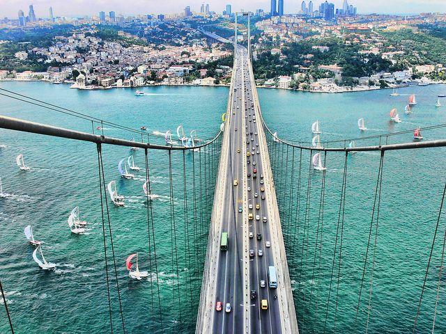 İstanbul Bogaziçi Köprüsü/ Istanbul Bosphorus Bridge connecting Europe and Asia, by Mehmet Ali Sargin.