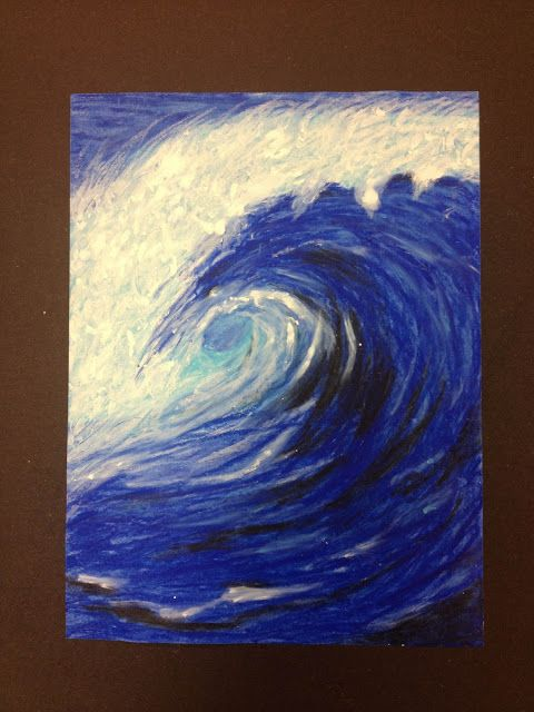 Dream. Pray. Create.: Why ride waves when you can paint them :: Oil Pastel studies of waves