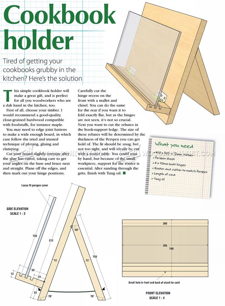 Cookbook Holder Plans - Woodworking Plans and Projects | WoodArchivist.com