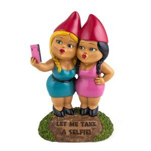 A modern twist on a traditiona; legend:  Selfie Sisters Funny Garden Gnomes