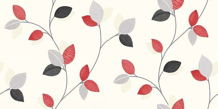 Monaco Red (409700) - Arthouse Wallpapers - A sweet and simple leaf trail design, with patterned leaves on a fabric image background. Shown in the red and grey on off white. Please request sample for true colour match.