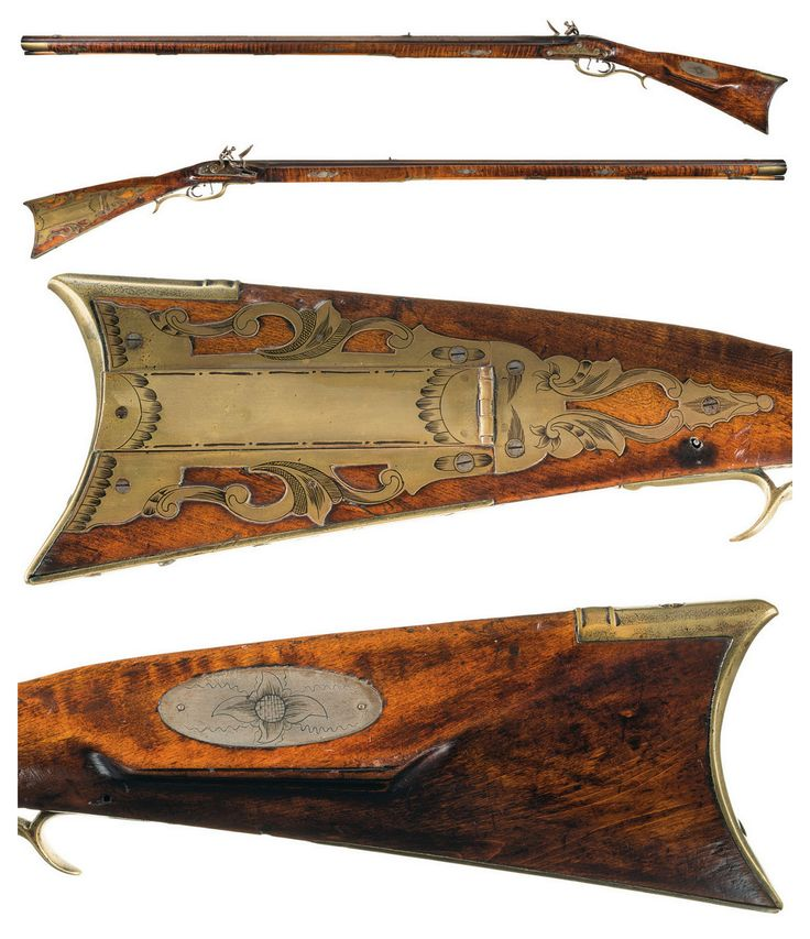Flintlock long rifle crafted by James Teaff, Sr. of Ohio, early 19th century. | © 2006-2015 Rock Island Auction Company
