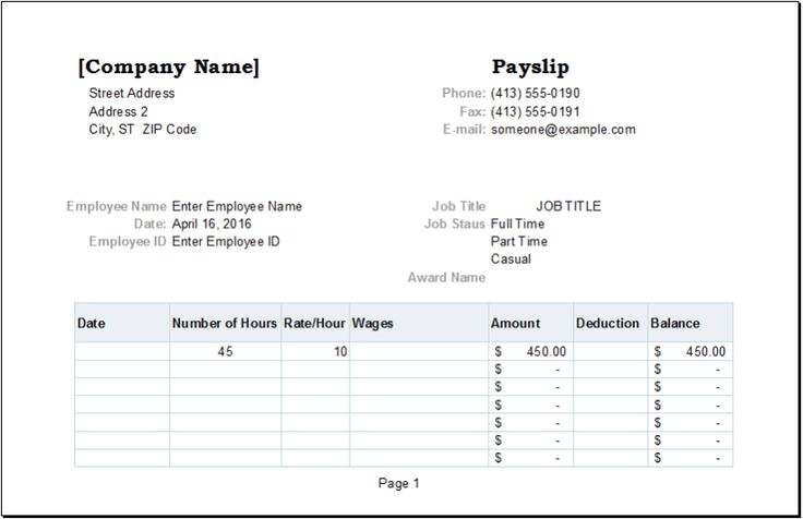 Employee payslip template for ms excel excel templates Excel Templates #SampleResume #PayslipTemplate