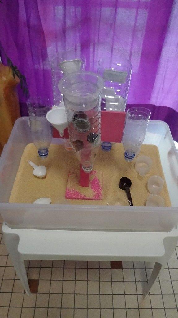 Voici ma dernière création : une table à semoule. Les enfants ont adoré ! Les différents éléments sont assemblés/collés au mastic . Si ça intéresse quelqu'un, j'ai utilisé le silicone « cristal » « FIX ALL » de chez Soudal. Je ne fais pas de pub, c'est...