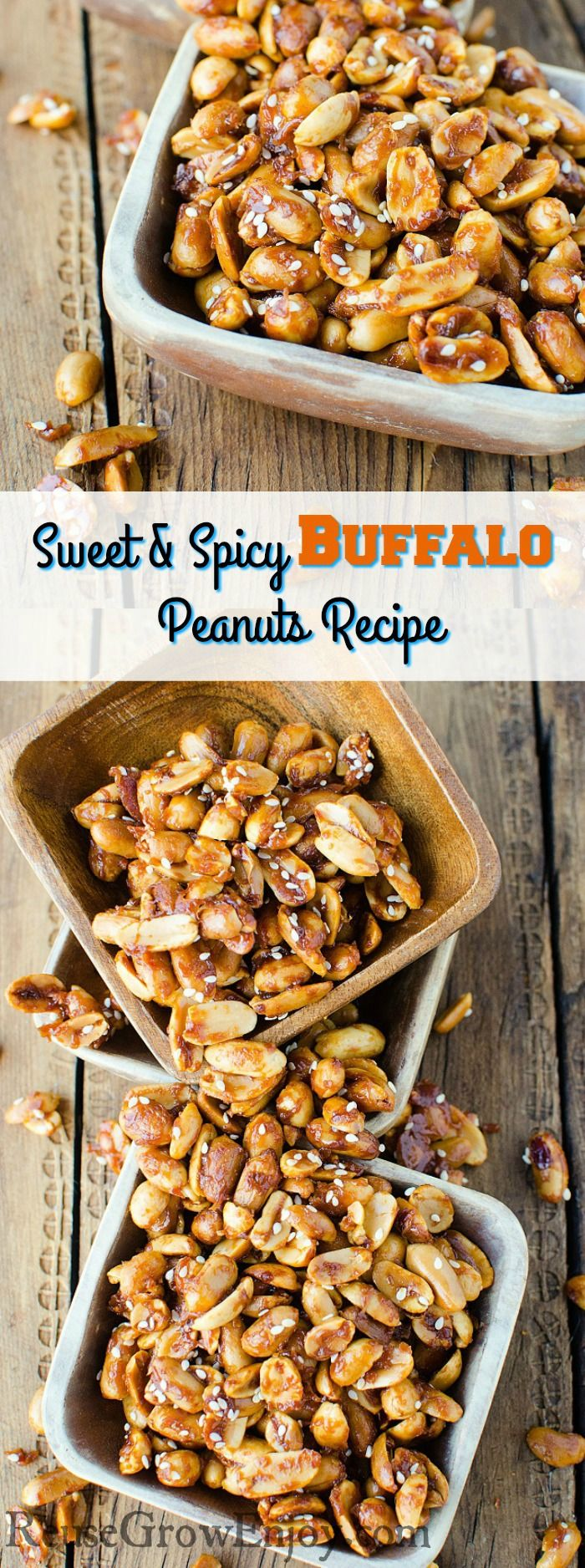 If you are in the need for new snack idea, this is sure to be a hit! This recipe for Sweet And Spicy Buffalo Peanuts has just the right touch of sweet and spicy that everyone loves. Great recipe for game day or any type of party.