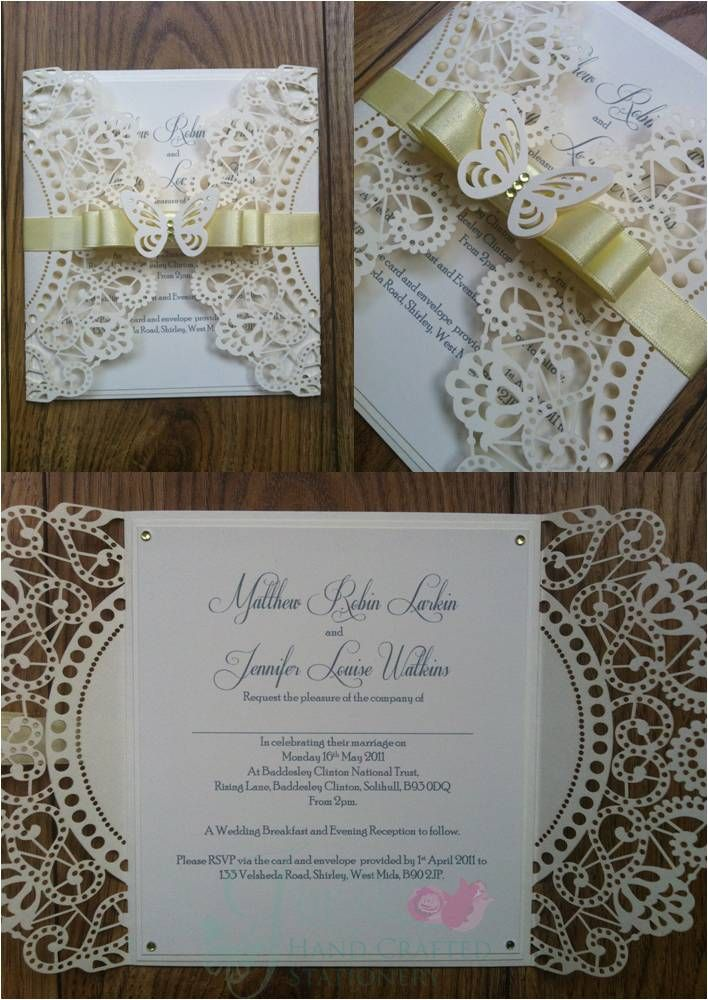 how to make wedding invitation card in microsoft word007%0A Lemon Yellow Laser Wedding Invitation with Card butterfly  www jenshandcraftedstationery co uk www