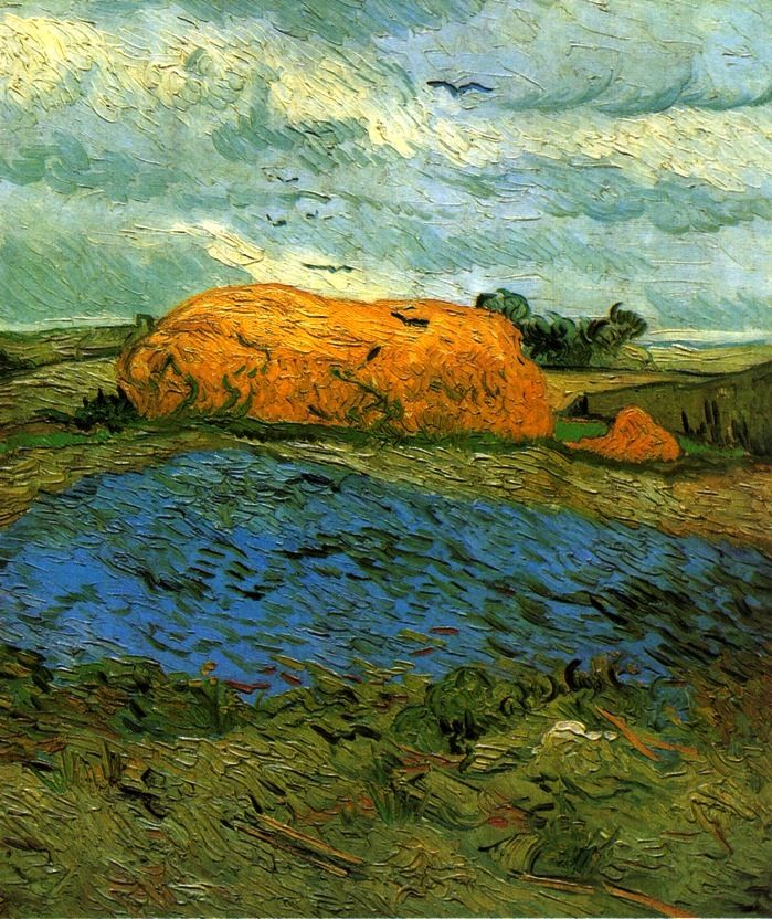 Haystacks under a Rainy Sky / Vincent van Gogh - 1890