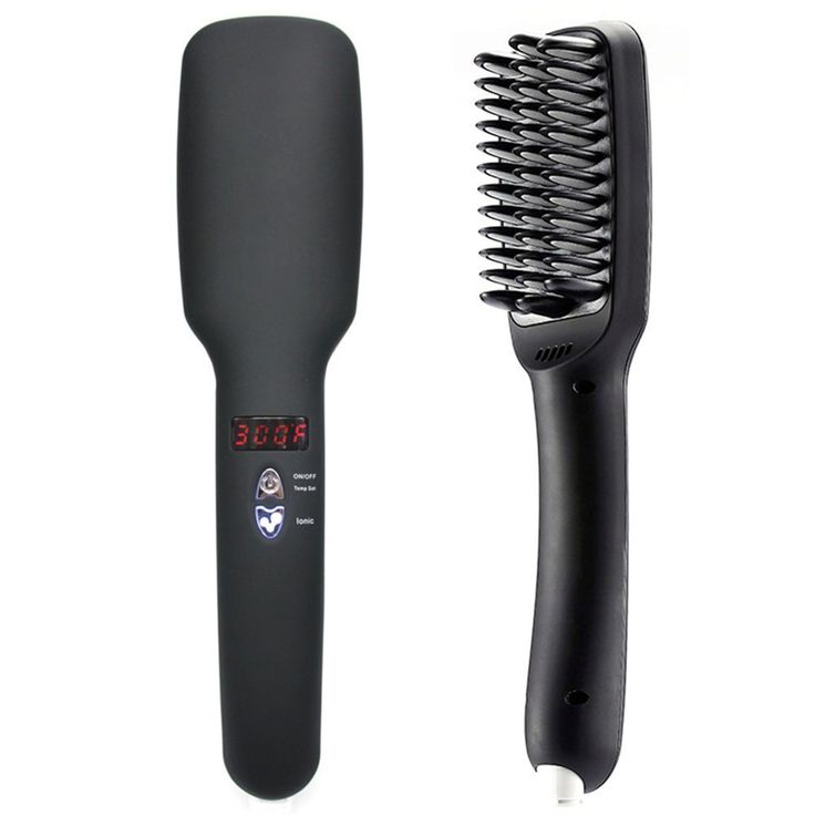 Hair Straightener Brush Digital Display 2 in 1 PTC Heating Ionic Hair straightening Comb Anti Scald Anti Static Ceramic Heating Detangling Hair Tools, Black *** This is an Amazon Affiliate link. Read more at the image link.