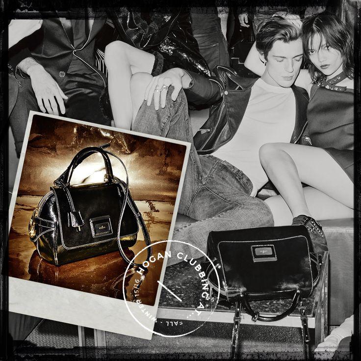 #HOGANClub after dark elegance. #HOGAN Women's Shoulder bag in black patent leather. #HOGANClubbingAt