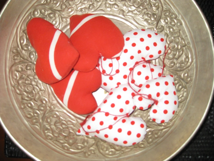 bowl of fabric hearts