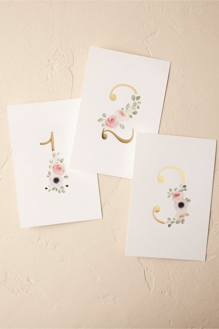 spring wedding | Peeking Florals Table Numbers from BHLDN