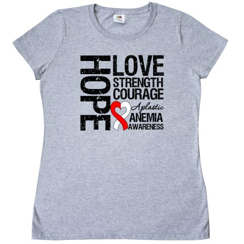 Aplastic Anemia Hope Love Strength Women's T-Shirt - Athletic Heather   Cancer Shirts   Disease Apparel   Awareness Ribbon Colors