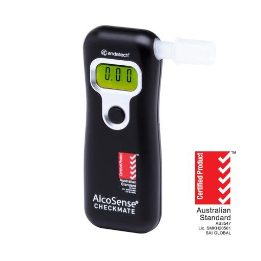 AlcoSense Checkmate Breathalyser   Easy to use, compact and small handheld breathalyser for personal use. The new AlcoSense Checkmate is Australian Standards AS3547 Certified and available in black.  Lightweight and compact, the Checkmate is easy to carry around in your pocket, handbag, or store in your glove box compartment. It is the best priced fuel cell breathalyser on the market, offering you fast and reliable readings every time.