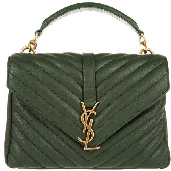 Saint Laurent YSL Monogramme MD College Bag Green in green, Shoulder... (£1,455) ❤ liked on Polyvore featuring bags, handbags, shoulder bags, purses, green, purse shoulder bag, shoulder handbags, genuine leather shoulder bag, leather purses and handbags purses
