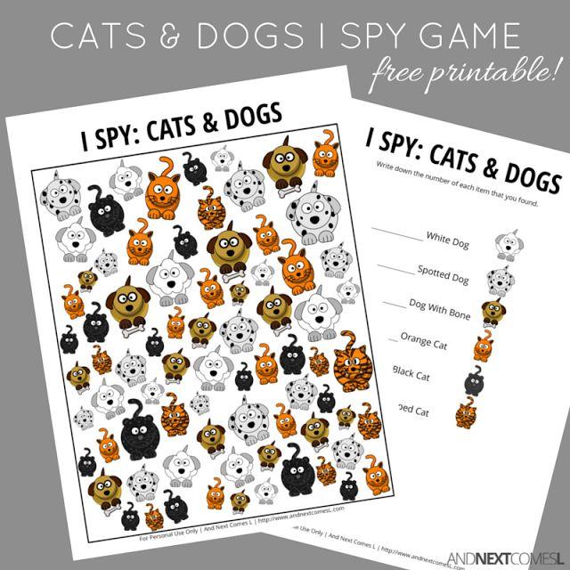 Juego de I Spy para gatos gratis para perros y gatos imprimible gratis de Y Next Comes L