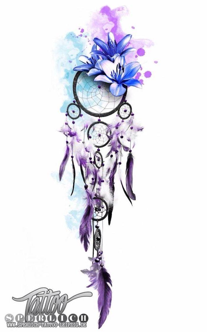 Voici une idée de tatouage aquarelle avec un capteur de rêves bleu mil …   – Tattoo Ideen