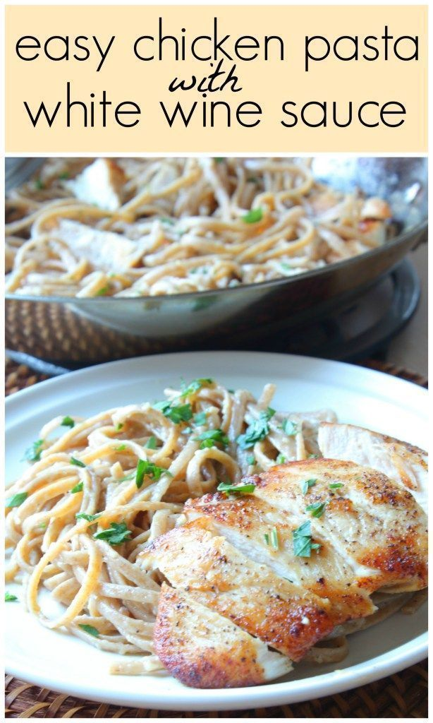 Easy Chicken Pasta with White Wine Sauce - Ever have those days where you want a hearty dinner but don't want it to take forever? This is the perfect dish!!