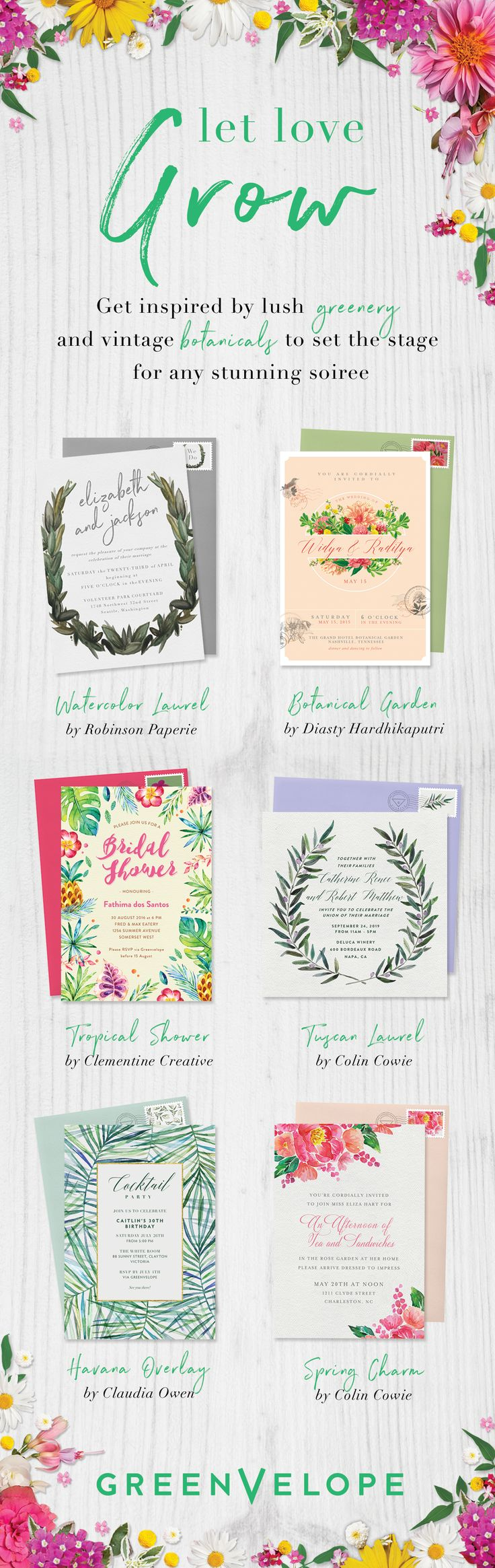 Let love bloom with a garden inspired wedding theme. Greenvelope.com offers chic, paperless invitations designed with your favorite florals in mind.