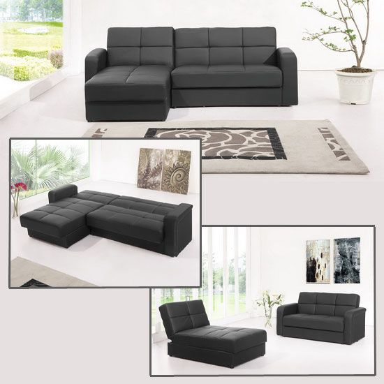 miami black faux leather corner sofa bed with storage modern