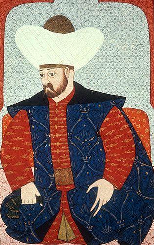 "Murad I, portrait from sixteenth century manuscript, H 1563, ""The Genealogy of the Ottoman Sultans"", Topkapi Palace Museum, Istanbul, Turkey"