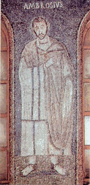 Figura di Sant'Ambrogio in un mosaico del V° secolo conservato nella basilica dedicata al santo a Milano