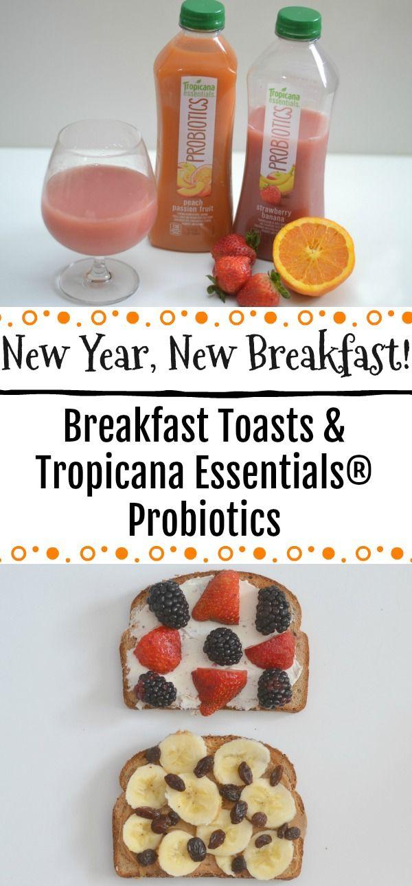 Easy breakfast ideas, breakfast toasts, breakfast toast recipes, Peanut Butter, Banana and Raisin Breakfast Toast, Berry and Cream Cheese Breakfast Toast, Tropicana Essentials®️️ Probiotics