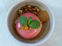 Apple poached in mead  served with seabuckthorn syrup crunchy nuts and skyr... Recipe dedicated to the old Norse Godess Idun and her apples of eternal youth...  First time published in Jamie Magazine more recipes at www.lindholmhoeje-cafe.dk