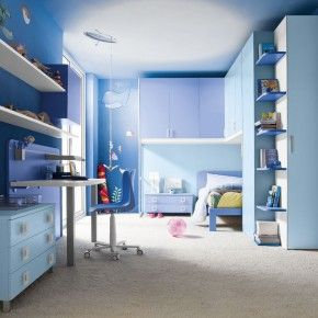 Ocean Blue Bedroom Design For Boys With Wall Mounted Shelves Mobmit.com