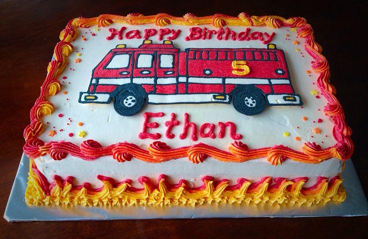 Little boy buttercream fire truck cake