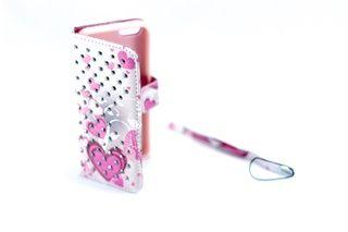 Estuche Piedras Finas Corazones Rosados Gris Iphone 5 — HighTeck Store