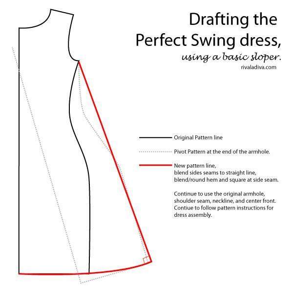 Swing dress pattern adjustments.