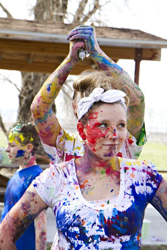 This would be great for older girls! Paint War in a field (Wide Game - use watered down water based paints, put in water guns, tape paper to girls for 'lives' and once all paper has paint on you are dead' - Safe paintballing!)