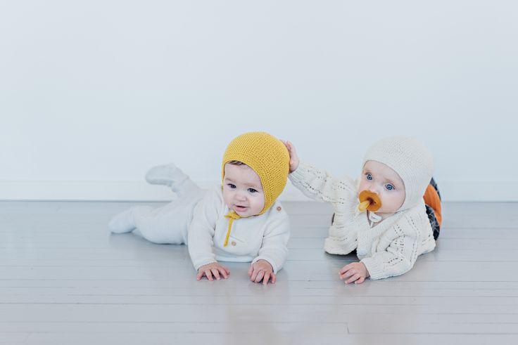 %100 Merino wool, hand knit baby bonnet by a mother in Ukraine