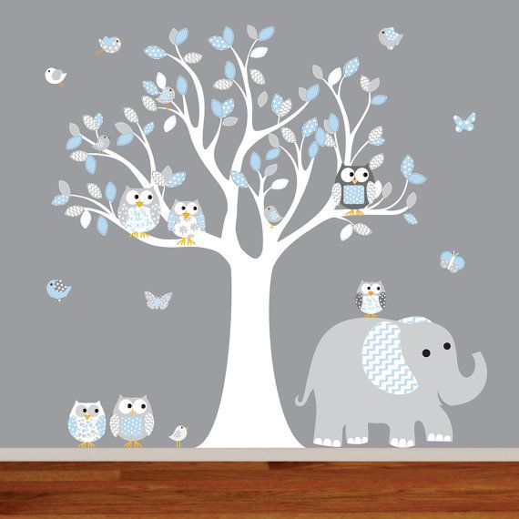 Nursery Decal Chevron Pattern Vinyl Wall Decal Nursery Tree With Elephant  Owls Birds And Butterflies. { Decal Kit Includes } *tree With Part 86