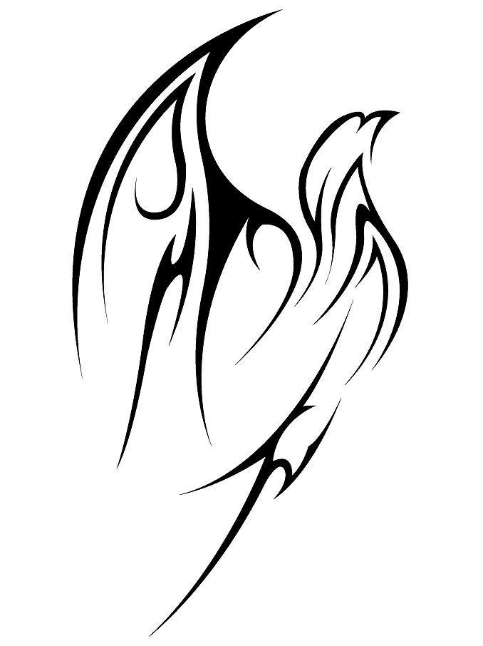 Lovely Flying Tribal Bird Tattoo Stencil