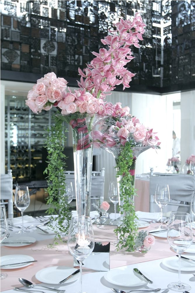 Bridal table with trumpet glass vase by Tirtha Bridal Uluwatu Bali