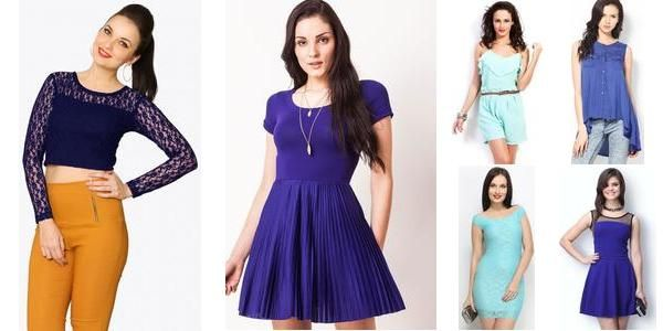 """""""Beguiling Blues!! ^.^"""" Awesome list on #dresses #tops by Swati Pathak #fashion"""