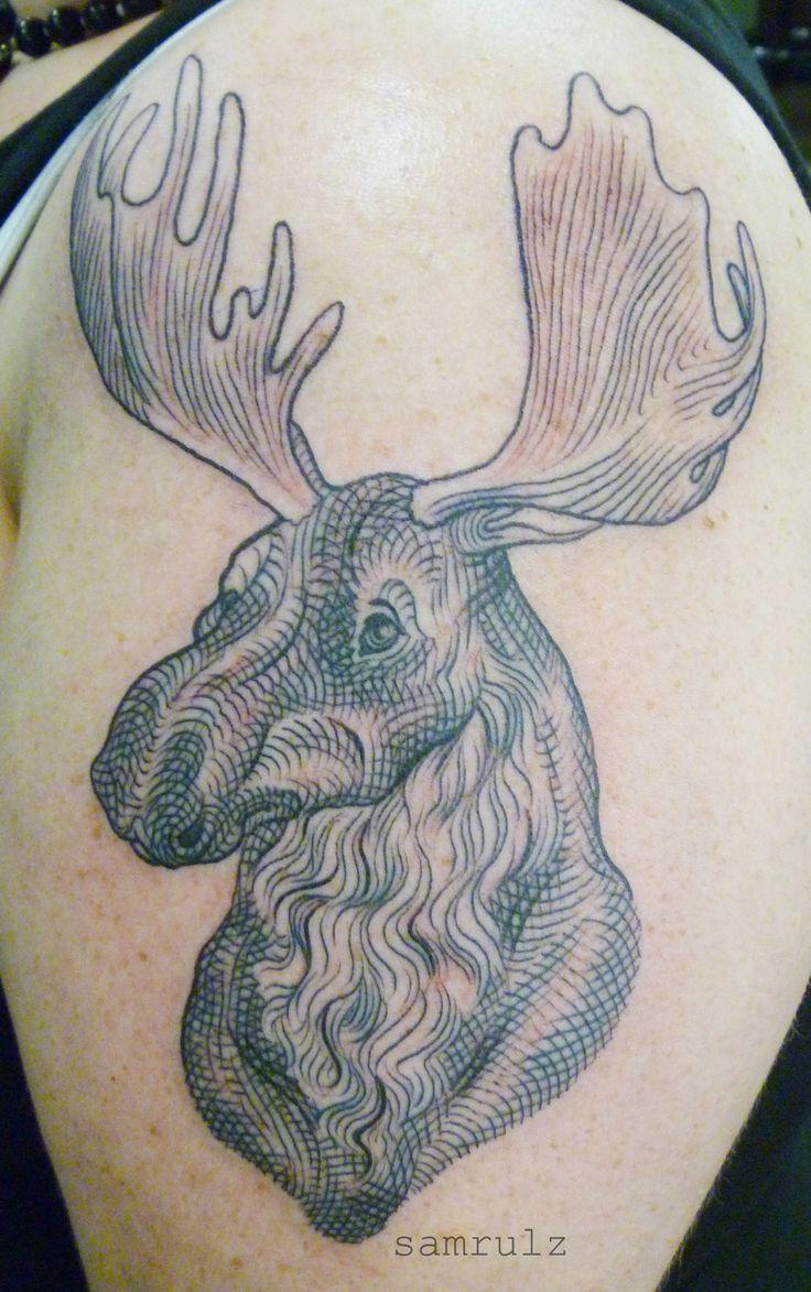 illustrated moose tattoo
