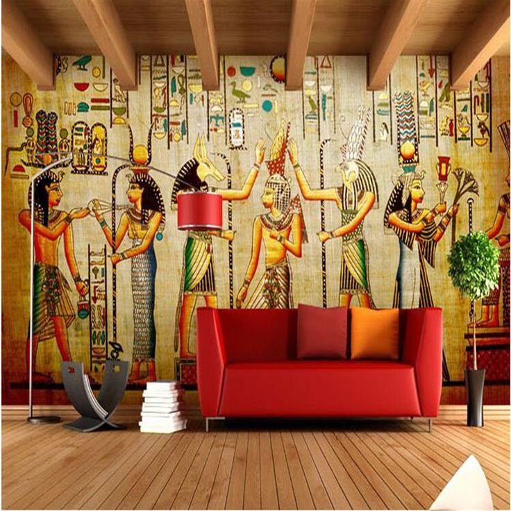 壁画壁紙リビングルームのためのレトロ古代エジプトのファラオ文化寝室背景ソファ現代絵画家の装飾(China (Mainland))