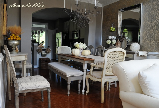 Love this room - Complete w/ DIY Table and benches! Dining Room Bench Tutorial: