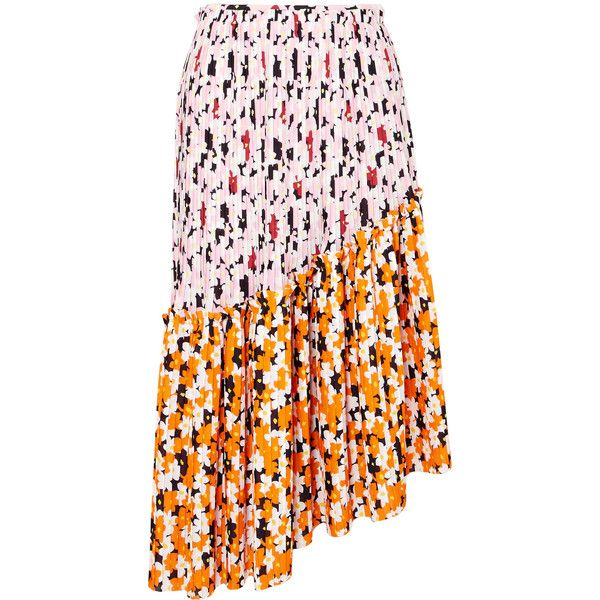 KENZO Asymmetric printed pleated crepe midi skirt (2182255 PYG) ❤ liked on Polyvore featuring skirts, pink, high-low skirts, floral pleated skirt, asymmetrical skirts, floral knee length skirt and pink skirt