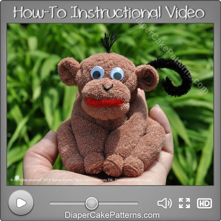 How to Make a Washcloth Monkey Instructional Video   Diaper Cake Patterns