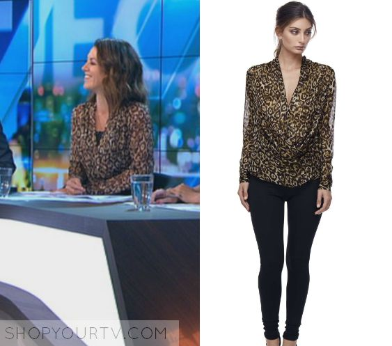 The Project: April 2017 Gorgi's Leopard Blouse | Gorgi Coghlan wears this leopard cowl neck printed blouse in this episode of The Project on April 13th 2017.  It is the Diida Queen of the Jungle Silk Cowl Blouse.