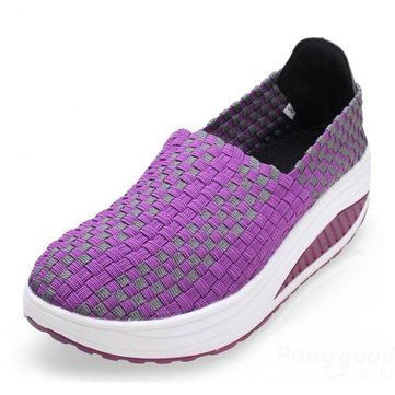 Comfortable Stretch Casual Breathable Knitting Platform Slip On Shook Shoes Sneakers - NewChic Mobile.