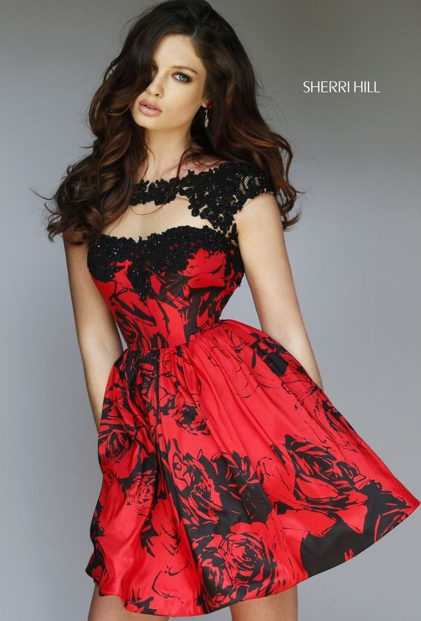 Black and red cap-sleeved Style 32111 mini dress with lace detail (Fall 2015 - 356 Best Short And Fancy Images On Pinterest Mini Dresses, Short