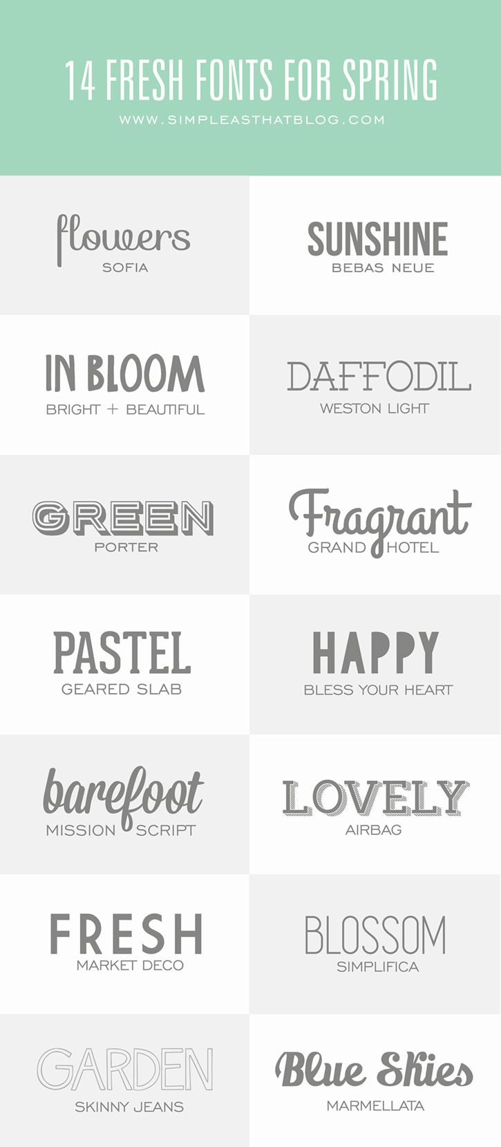 Are you a font collector? Add a little typography flair to your next project with these 14 Fresh Fonts for Spring. Links to all of the FREE fonts included in the post.