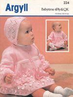 vintage baby dress set knitting pattern 1980's