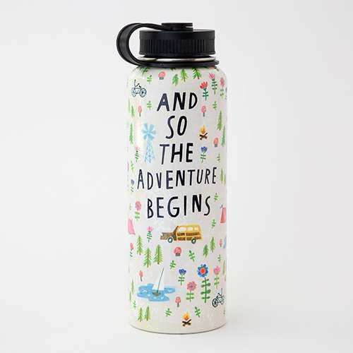 The Adventure Begins Large Water Bottle - Keep your cold drinks cold and your hot drinks hot all day long with our new Large Water Bottle. Made with double-walled stainless steel that's non-toxic, non-leaching   BPA free. Vacuum-sealed to keep liquids and carbonation fresh. The perfect size to take on the go for any adventure!