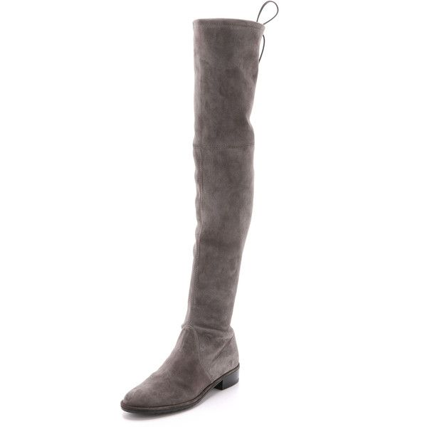 Stuart Weitzman Lowland Over the Knee Boots ($785) ❤ liked on Polyvore featuring shoes, boots, londra, over knee leather boots, thigh high leather boots, stretch boots, stretch thigh high boots and real leather boots